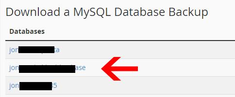 cPanel Database Backup