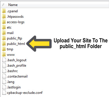 Upload to the public_html folder
